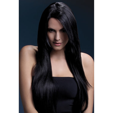 Lange Stijle Pruik - Zwart