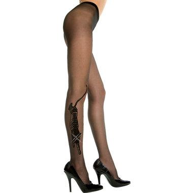Plus Size Panty Met Tijgerdesign - Zwart