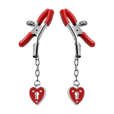 Tepelklem met hartvormige hangslotjes