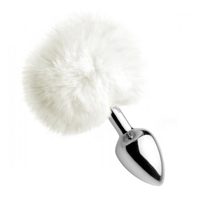 White Fluffy Bunny Tail Buttplug