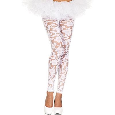 Transparante Legging Met Bloemendesign - Wit